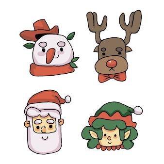 Rosto de natal do papai noel, renas, boneco de neve e gnomo