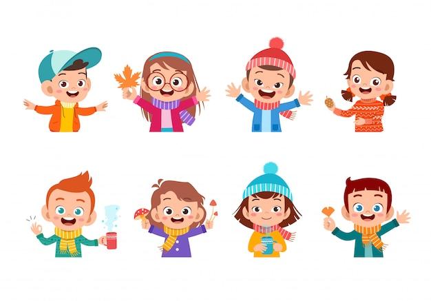 Rosto de outono de crianças