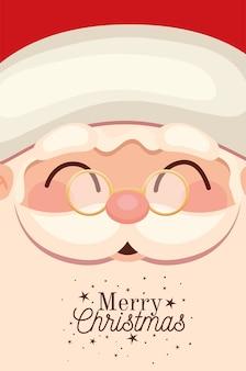 Rosto de papai noel com ilustração de letras de feliz natal