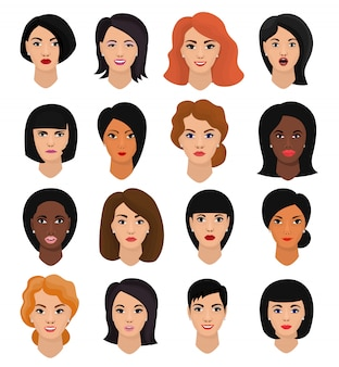 Rosto de personagem feminina de vetor de retrato de mulher de menina com pessoa penteado e desenho animado com vários conjunto de ilustração de tom de pele de belas características faciais isoladas no espaço em branco