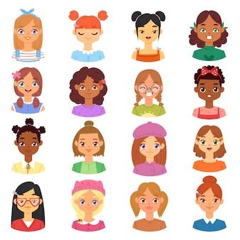 Rosto de personagem feminina retrato de menina com pessoa penteado e desenho animado com várias ilustrações de tom de pele