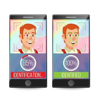 Rosto de pessoa de digitalização de smartphone