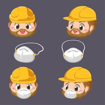 Rosto de reparador com capacete e máscara de proteção contra poeira em personagem de desenho animado, ilustração plana isolada
