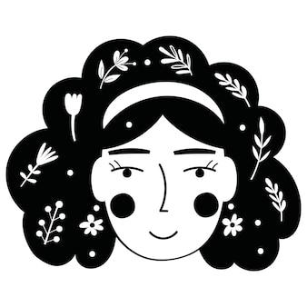 Rosto de senhora floral. ilustração vetorial.