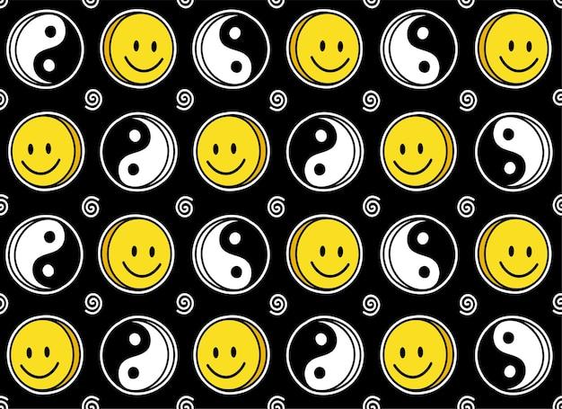 Rosto de sorriso engraçado e padrão sem emenda de yin yang