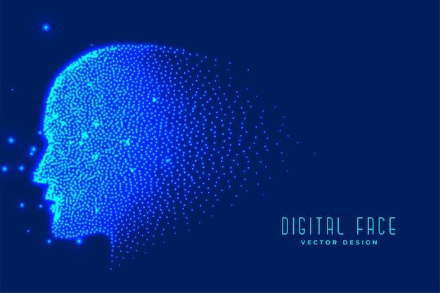 Rosto de tecnologia digital feito com partículas
