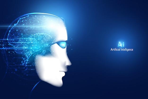Rosto de tecnologia futurista digital inteligente inteligência artificial abstrato com cérebro