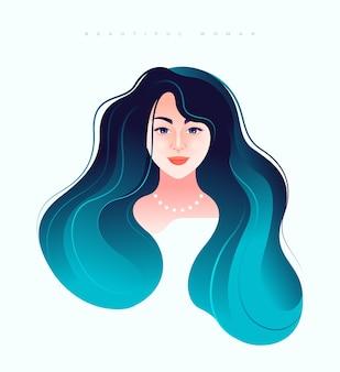 Rosto de uma linda jovem com longos cabelos azuis