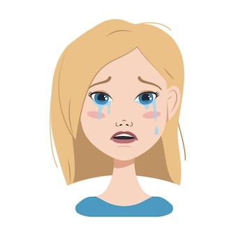 Rosto de uma mulher com cabelos loiros, olhos azuis e um corte de cabelo curto. emoções diferentes, expressões faciais de alegria, tristeza, surpresa, alegria, angústia e raiva. avatar de moda em arte vetorial plana