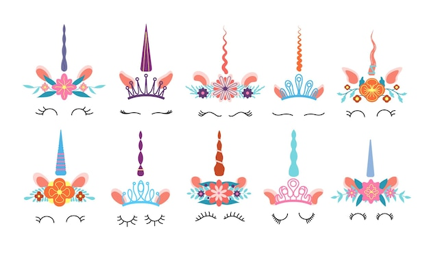 Rosto de unicórnio. diferentes cabeças de unicórnios engraçados bonitos com chifre mágico e coroa de flores do arco-íris e cílios. conjunto de vetores de crianças coloridas. ilustração mágica de unicórnio, cabeça mágica