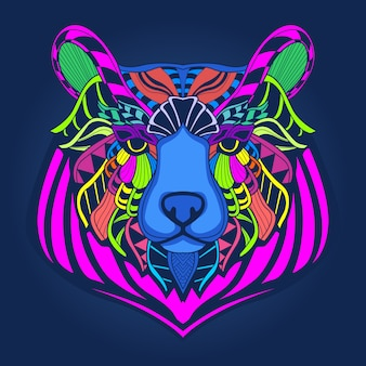 Rosto de urso colorido
