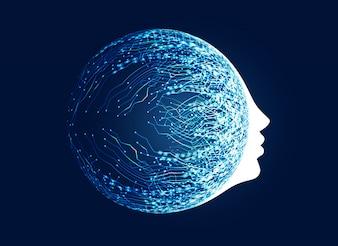 Rosto digital com conceito de rede de circuito