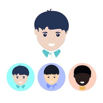 Rosto do menino europeu. conjunto de três ícones coloridos redondos, rosto do menino europeu, rosto do menino asiático, rosto do menino afro-americano, ilustração vetorial