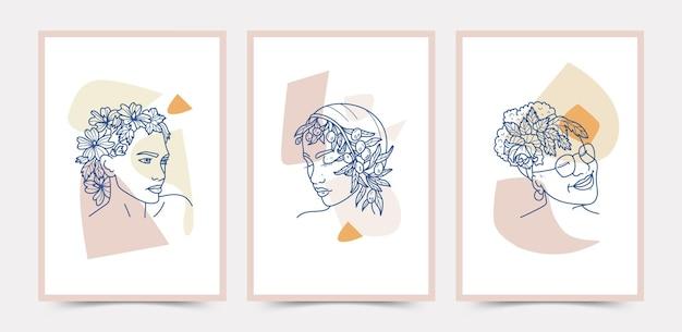 Rosto e flores linha arte boho cartaz modelo coleção.