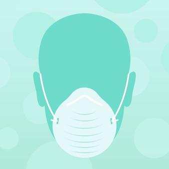 Rosto e máscara médica de design plano