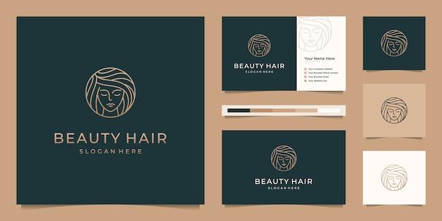 Rosto elegante mulher cabeleireiro ouro gradiente linha arte logo design e cartão de visita
