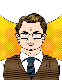 Rosto emocional de um homem de óculos e terno
