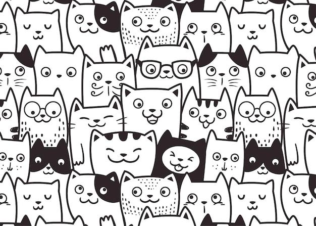 Rosto engraçado de gatos com padrão de fundo de doodle