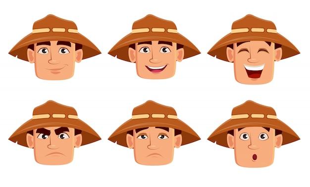 Rosto, expressões, de, agricultor, em, chapéu