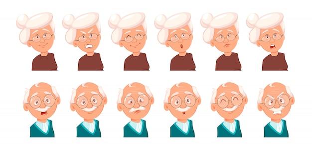 Rosto, expressões, de, avô, e, vó