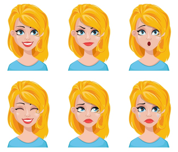 Rosto, expressões, de, cute, loiro, mulher