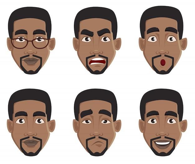 Rosto, expressões, de, homem americano africano