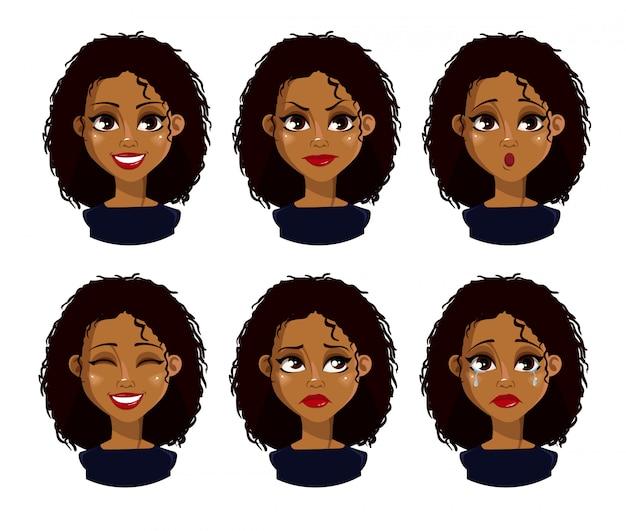 Rosto, expressões, de, mulher americana africana, com, cabelo escuro