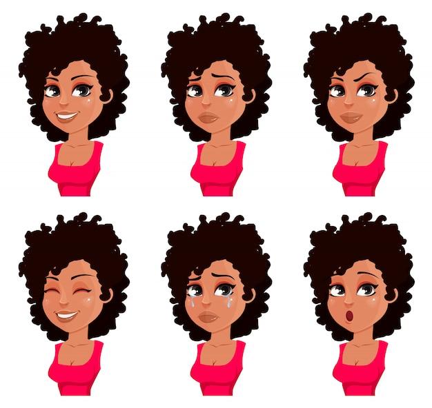 Rosto, expressões, de, mulher americana africana, em, blusa vermelha