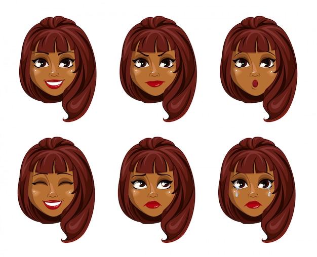 Rosto, expressões, de, mulher americana africana