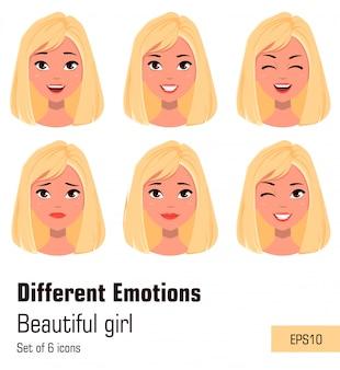 Rosto, expressões, de, mulher, com, cabelo loiro