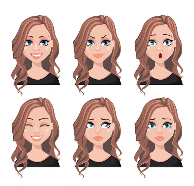 Rosto, expressões, de, mulher, com, cabelo marrom