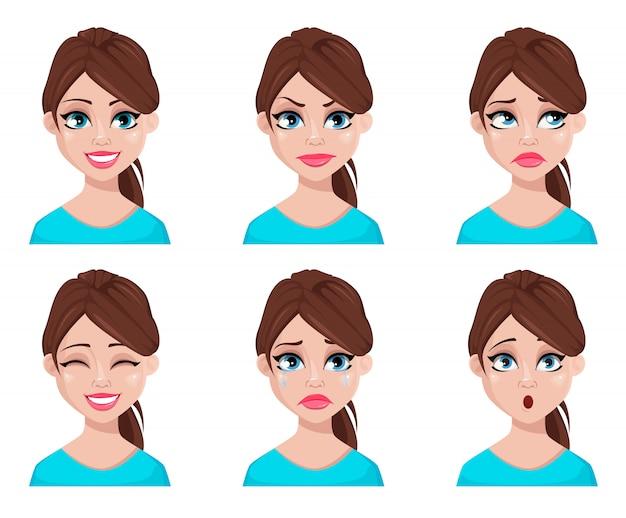 Rosto, expressões, de, mulher, em, blusa azul