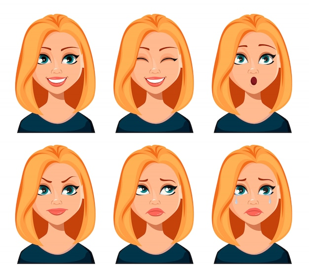 Rosto, expressões, de, mulher