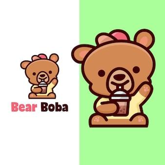 Rosto feliz urso marrom bebidas boba mascot logo