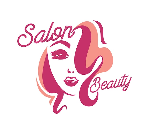 Rosto feminino com etiqueta de cabelos cacheados para salão de beleza, logotipo criativo com cabeça de linda garota isolada no fundo branco. barbearia, salão feminino, banner criativo de serviço de corte de cabelo. ilustração vetorial