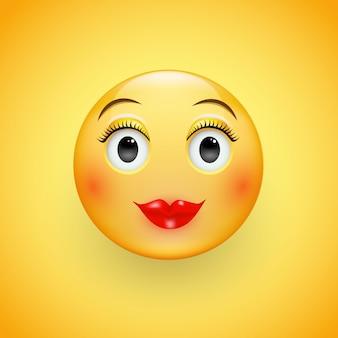 Rosto feminino com olhos arregalados. bola dos desenhos animados.