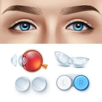 Rosto feminino com olhos azuis e conjunto realista de lentes de contato com caixa e anatomia do olho humano.