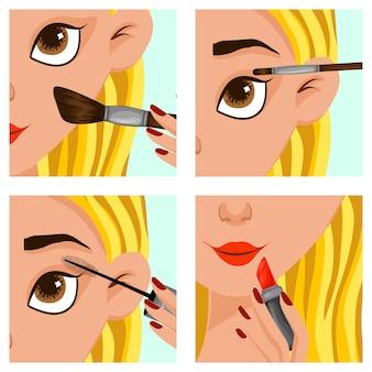 Rosto feminino com passos de maquiagem