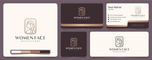 Rosto feminino, elegância, spa, equilíbrio, cartão de visita e design de logotipo
