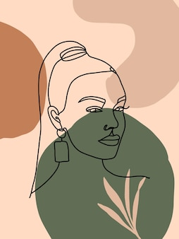 Rosto feminino moderno de uma linha em estilo minimalista