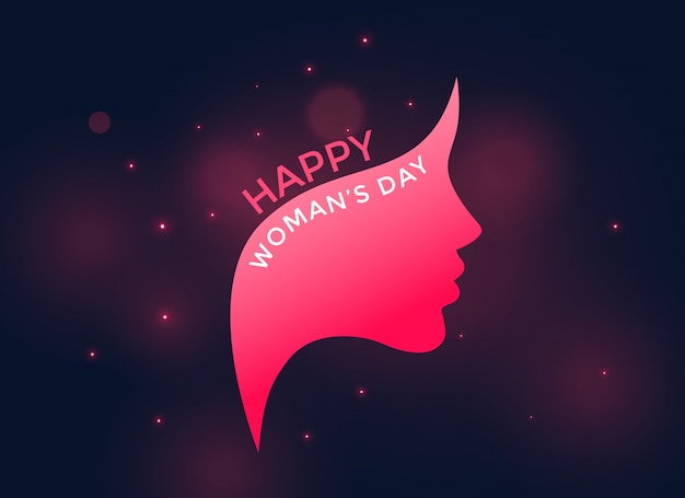 Rosto feminino rosa para o feliz dia das mulheres