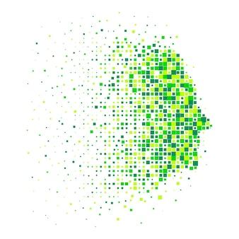 Rosto humano abstrato em um perfil em mosaico de pixel verde. conceito de proteção da natureza e do mundo. design minimalista para o logotipo ou infográficos. ilustração vetorial