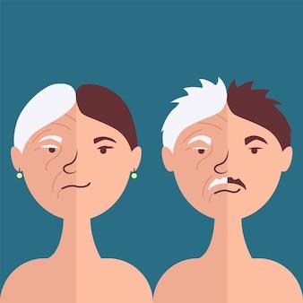 Rosto masculino e feminino antiidade