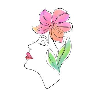 Rosto mínimo de mulher com orquídeas em aquarela.