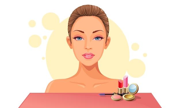 Rosto modelo e maquiagem