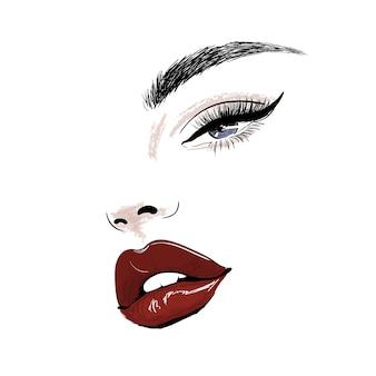 Rosto sensual com lábios vermelhos suculentos e arte dos olhos