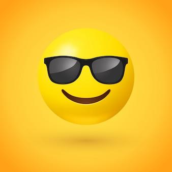 Rosto sorridente com óculos de sol emoji