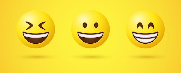 Rosto sorridente de emoji com olhos sorridentes em renderização 3d