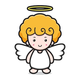Rosto sorridente de personagem de desenho animado de anjo fofo