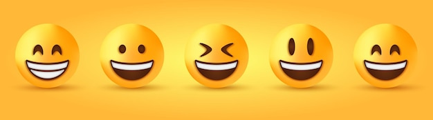Rosto sorridente e radiante com olhos sorridentes - emoji de smiley com boca aberta - emoticon de risada feliz